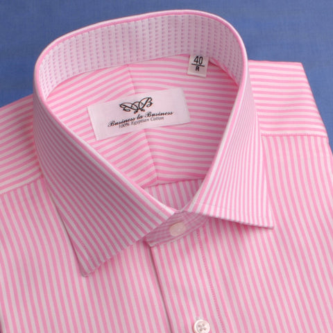 B2B Shirts - Pink Royal Oxford Stripes Formal Business Dress Shirt with Luxurious Inner Lining - Business to Business