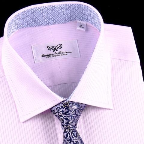Thin Pink Hidden Fade Luxury Stripes on Oxford Cotton Formal Business Dress Shirt in Button Cuff with 7.5 cm Spread Cutaway Collar
