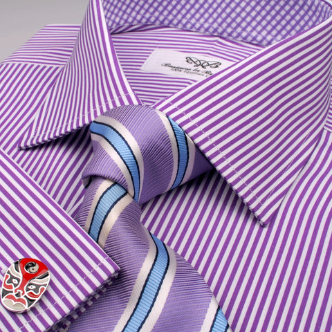 B2B Shirts - Purple Striped Formal Business Dress Shirt Designer Checks Inner Lining - Business to Business