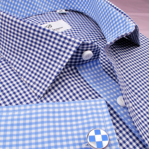 B2B Shirts - Small Mini Navy Blue Gingham Check Formal Business Dress Shirt with Light Checkered Inner-Lining - Business to Business