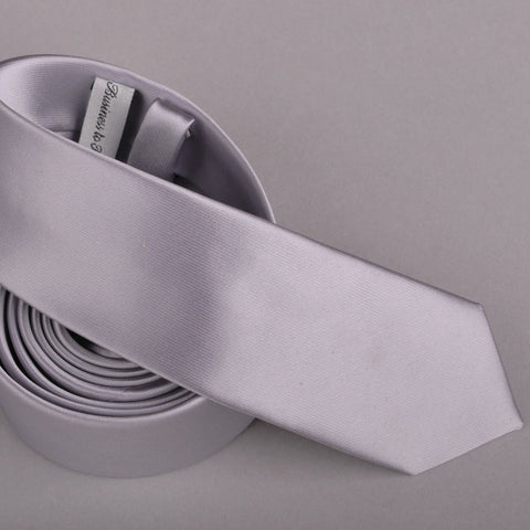 B2B Shirts - Pure Solid Grey Super Skinny Tie - Business to Business