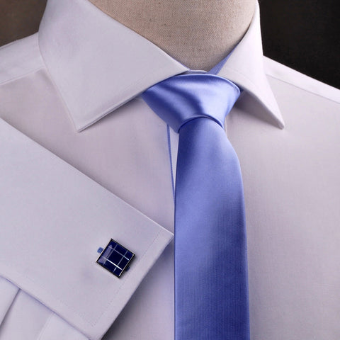 B2B Shirts - Pure Solid Light Blue Super Skinny Tie - Business to Business