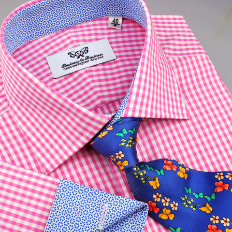 B2B Shirts - Pink Gingham Check Formal Business Dress Shirt Blue Starburst Fashion - Business to Business