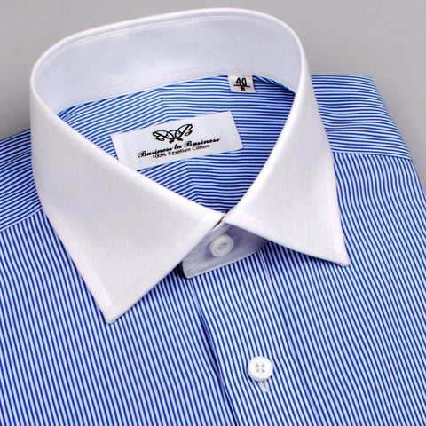 B2B Shirts - Mini Thin Blue Stripe Contrast Cuff Formal Business Dress Shirt White Collar Fashion - Business to Business