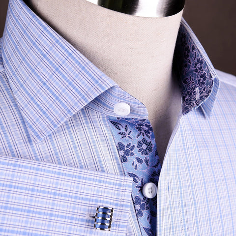 B2B Shirts - Blue Striped Checkered Formal Business Dress Shirt Hawaiian Hibiscus Floral Fashion - Business to Business