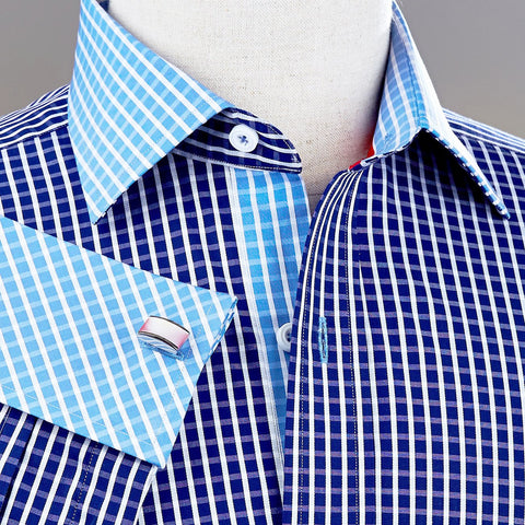 B2B Shirts - Navy Blue Gingham Check Formal Business Dress Shirt Light Contrast Cuff Fashion - Business to Business