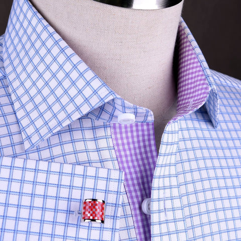 B2B Shirts - Thick Blue Plaid Checkered Formal Business Dress Shirt with Pink Gingham Designer Inner-Lining - Business to Business