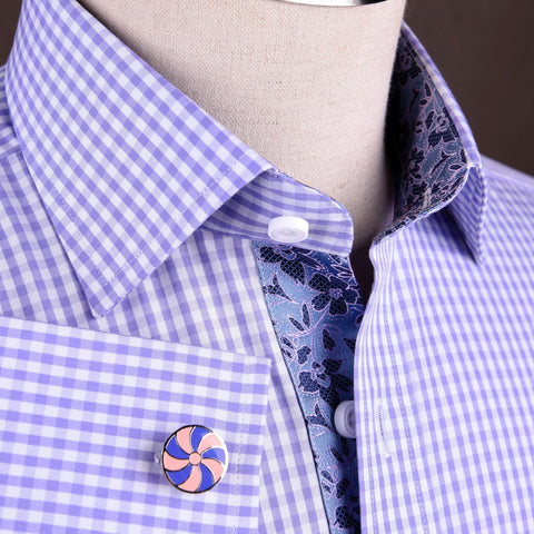 B2B Shirts - Lavender Soft Purple Gingham Checkered Formal Business Dress Shirt with Hawaiian Hibiscus - Business to Business