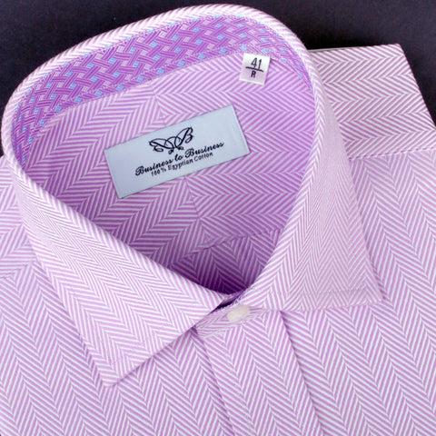 B2B Shirts - Purple Violet Herringbone Formal Business Dress Shirt Tightly Woven Fashion - Business to Business