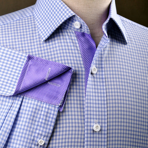 B2B Shirts - Tri Purple Striped Checkered Formal Business Dress Shirt Designer Snakeskin Inner Lining - Business to Business