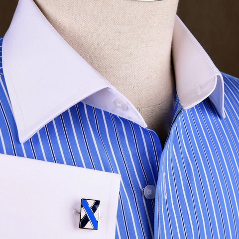 B2B Shirts - Blue Designer Striped Formal Business Dress Shirt White Collar White Cuff - Business to Business