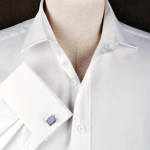 B2B Shirts - White Solid Poplin Formal Business Dress Shirt Double French Cuffs - Business to Business