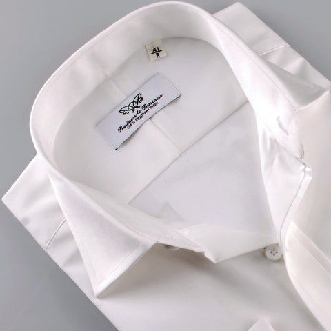 B2B Shirts - White Solid Poplin Formal Business Dress Shirt Single Button Cuffs - Business to Business