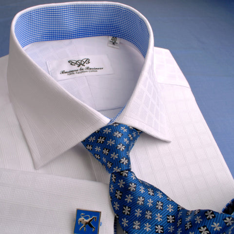 B2B Shirts - White Faded Grid Checkers Formal Business Dress Shirt with Mini Blue Gingham Check - Business to Business