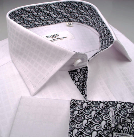 B2B Shirts - White Herringbone Fade Checkered Formal Business Dress Shirt with Black Paisleys - Business to Business