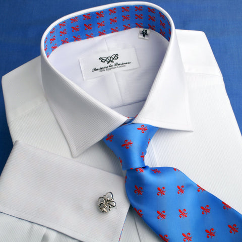 B2B Shirts - White Shadow Fade Twill Formal Business Dress Shirt with Fleur-De-Lis - Business to Business