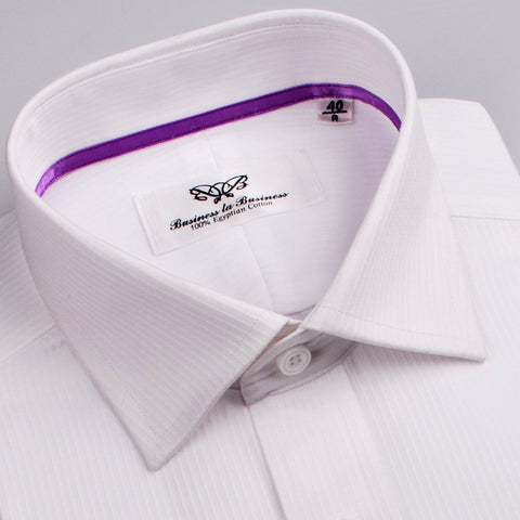 B2B Shirts - Thin .15 White Twill Stripe Formal Business Dress Shirt with Purple Trim - Business to Business