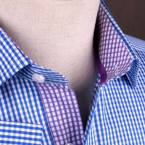 Blue Gingham Check Formal Business Dress Shirt w Purple Inner-Lining in Button Cuffs