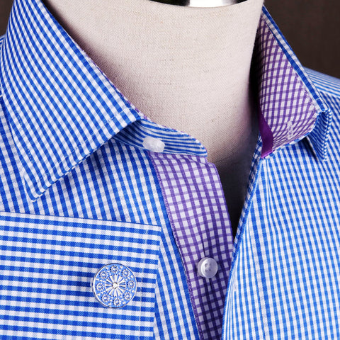 B2B Shirts - Blue Mini Plaids & Checks Formal Business Dress Shirt Purple Checkered Fashion - Business to Business
