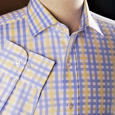 B2B Shirts - Yellow Blue Herringbone Checkered Striped Formal Business Dress Shirt Luxury Twill Design - Business to Business