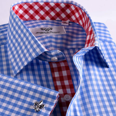 B2B Shirts - Blue Designer Gingham Check Formal Business Dress Shirt With  Red Checkered Fashion Inner Lining - Business to Business