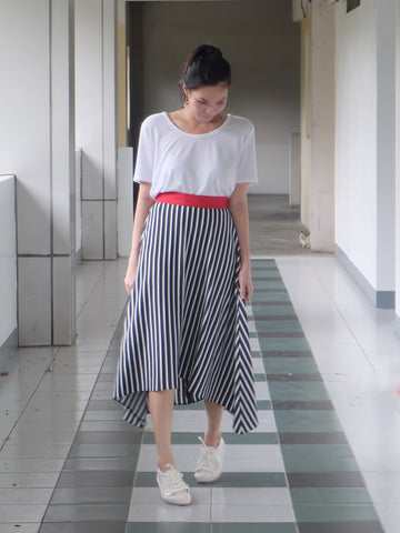 Rayures Asymmetric Skirt