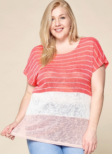 Coral Striped Color-Block Top