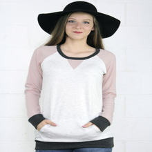 Pink Terry Color Block Top