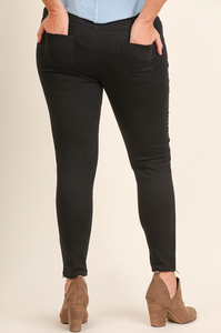 Black Washed Moto Jeggings
