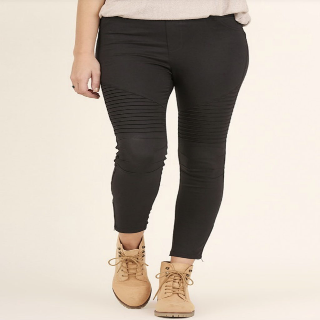 Black Ribbed Moto Leggings
