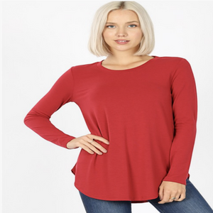 Dark Red Perfect Long Sleeve Tee