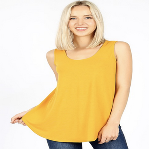 Relaxed Fit Tank in Dark Mustard