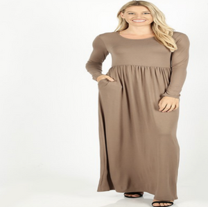 High Waist Maxi Dress In Mocha