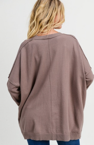 Taupe Dolman Sleeve Sweater