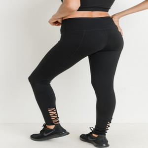 Lattice Strap Black Leggings