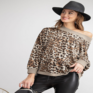 Leopard Gold Duster Pullover in Camel
