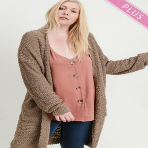 Boucle Knit Long Cardigan In Mocha