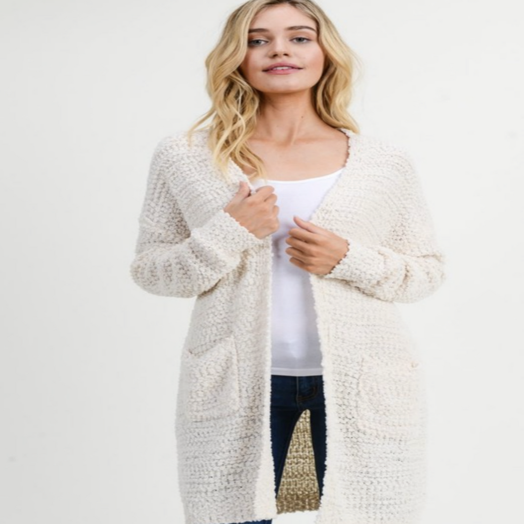 Boucle Knit Long Cardigan In Natural