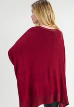 Solid Marled Over Sized Top In Burgundy