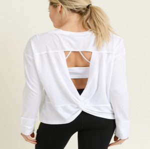 Overlay Twist Cut-Out Back Top