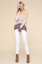 Color Blocked Knit Sweater In Peach