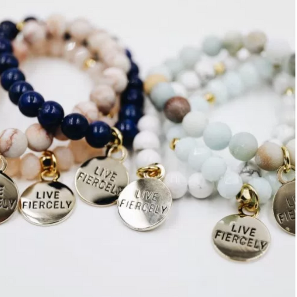 Live Fiercely Charm Beaded Bracelet - Linger Boutique