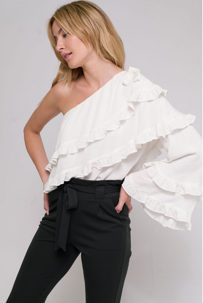One Shouldered Ruffle Blouse - Linger Boutique