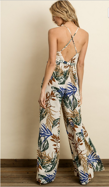 Tropical Leaf Jumpsuit - Linger Boutique