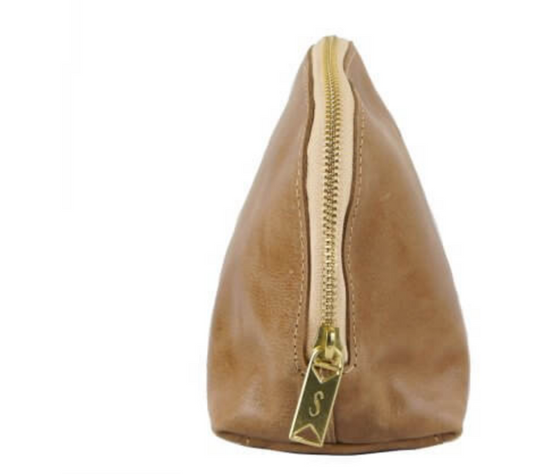 Oyster Cosmetic Bag in Camel - Linger Boutique