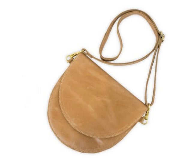 Half Moon Crossbody Clutch in Oiled Caramel - Linger Boutique