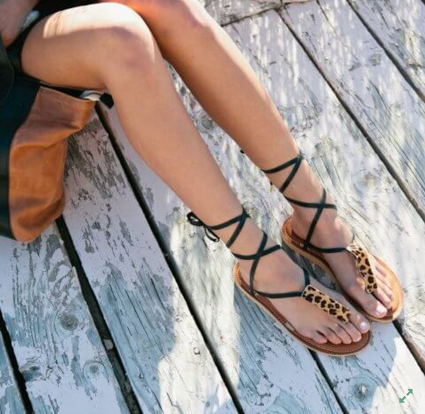 Caramel Leather Stitched Ribbon Sandals - Linger Boutique
