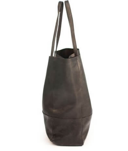 Black Pebbled Leather Bucket Bag