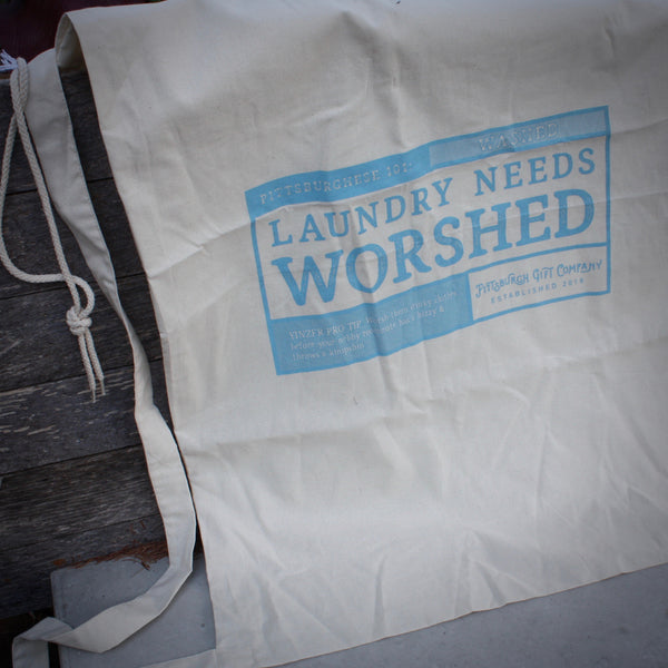 """LAUNDRY NEEDS WORSHED"" Cotton laundry Tote with carrying strap"