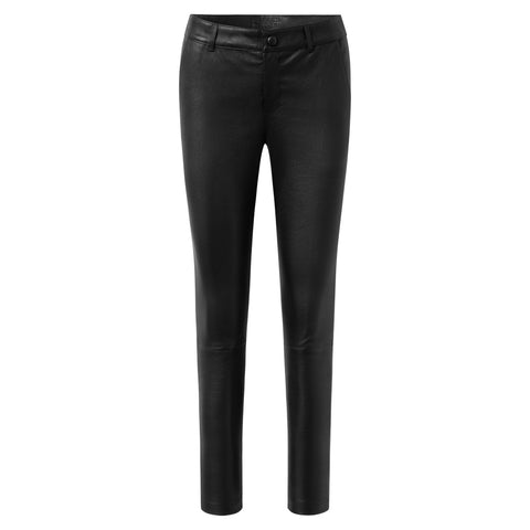 Leather pants with wide and straight legs / 50240